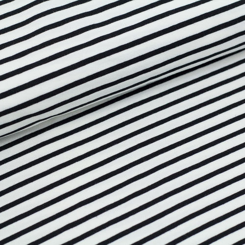 Organic Jersey stripes - white-black (GOTS)
